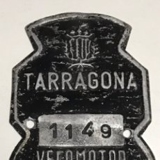 Carteles: CHAPA VELOMOTOR 1974 TARRAGONA. Lote 220541883