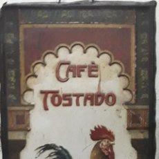 Affissi: ANTIGUO CARTEL DE CHAPA CAFÉ TOSTADO EL GALLO EMILIO ALBA BADAJOZ MUY RARO. Lote 220542602
