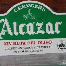 Carteles: CARTEL CERVERZAS ALCAZAR, XIV RUTA DEL OLIVO COCHES ANTIGUOS JAEN, 1991. Lote 221524585