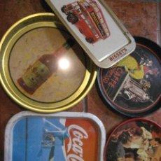 Carteles: LOTE 5 BANDEJAS PUBLICIDAD 2 COCACOLA MAGNO OSBORNE REVERSO TORO CAFFE EXPRESSO WISKY BISSETS. Lote 221651895