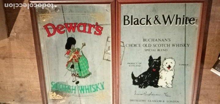 BLACK & WHITE ** DEWAR'S - DOS CUADROS ESPEJO PUBLICITARIO (Coleccionismo - Carteles y Chapas Esmaltadas y Litografiadas)