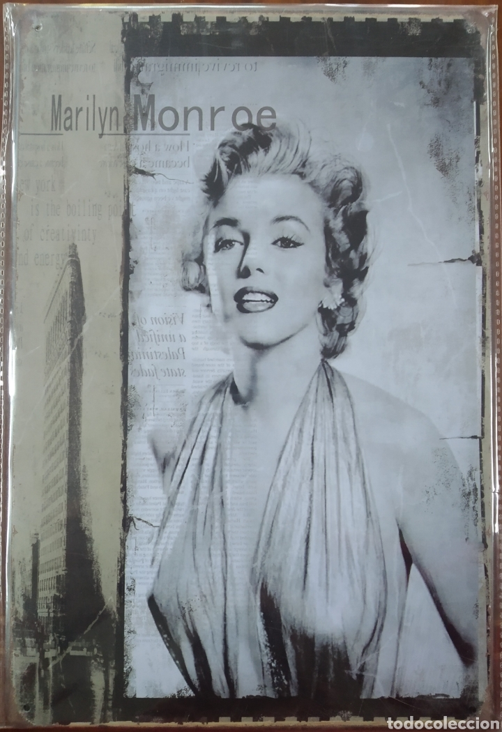 CARTEL DE CHAPA MARILYN MONROE (Coleccionismo - Carteles y Chapas Esmaltadas y Litografiadas)