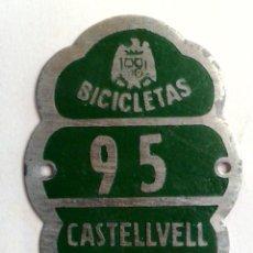 Carteles: CHAPA MATRICULA RODAJE BICICLETAS Nº95 DE CASTELLVELL (TARRAGONA) AÑO 1948. Lote 225968315
