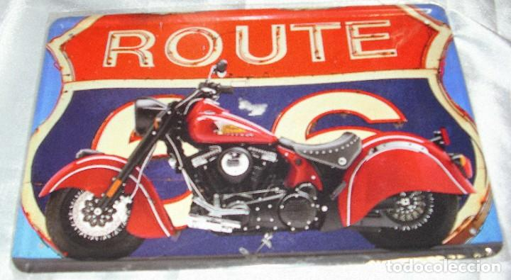 ROUTE MOTO INDIAN, CHAPA 30X20 , NUEVA-IMPORTANTE LEER Y VER FOTOS (Coleccionismo - Carteles y Chapas Esmaltadas y Litografiadas)