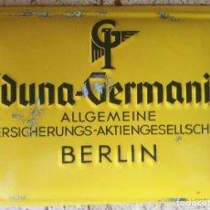 Carteles: BONITO CARTEL CHAPA O PLACA DE COMPAÑIA DE SEGUROS IDUNA GERMANIA EN BERLIN ALEMANIA. Lote 226992955