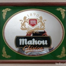 Carteles: CUADRO ESPEJO CERVEZA MAHOU CLASICA 1890 - 47X38 CENTIMETROS - LOTE 1. Lote 234625630