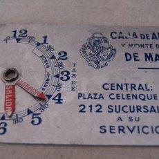 Carteles: HORARIO DE CHAPA CAJAS DE AHORROS Y MONTE PIEDAD DE MADRID. Lote 236135245