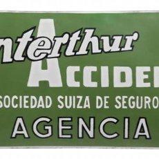 "Carteles: CHAPA ESMALTADA ""WINTERTHUR"" ACCIDENTES, PLÚRIMA. Lote 236721950"