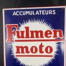 Carteles: FULMEN MOTO ACCUMULATEURS PLAQUE EMAILLE ANCIEN. Lote 236949275