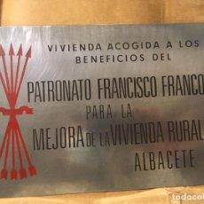 Affiches: ALBACETE CHAPA VIVIENDAS ACOGIDAS BENEFICIOS PATRONATO FRANCISCO FRANCO VIVIENDA RURAL. 21,5X15,5. Lote 237462195