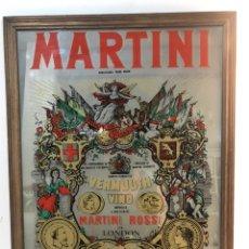 Carteles: CUADRO ESPEJO GRANDE PUBLICITARIO DE CRISTAL DE MARTINI. 60X50CM.. Lote 240485975