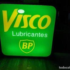 Carteles: CARTEL BANDEROLA ROTULO LUMINOSO DE TALLER. BP VISCO LUBRICANTES. USADO DOBLE CARA FUNCIONANDO.. Lote 241957650