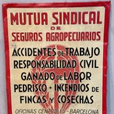 Affissi: CARTEL PLACA DE CHAPA MUTUA SINDICAL DE SEGUROS AGROPECUARIOS DELEGACIÓN LOCAL. Lote 242956135