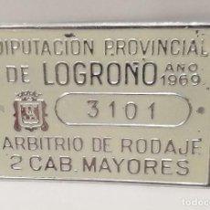 Carteles: CHAPA 1969 DIPUTACIÓN DE LOGROÑO ARBITRIO DE RODAJES 2 CAB. MAYORES. Lote 242988160
