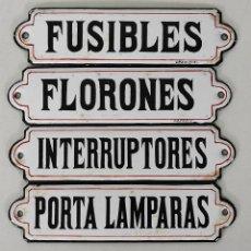 Carteles: CARTELES MATERIA ELÉCTRICO - CHAPA, PLANCHAS METÁLICAS ESMALTADAS - FIRMA GRANDIN. Lote 244182430