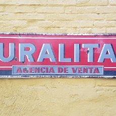 Carteles: CHAPA ESMALTADA DE URALITA, AGENCIA DE VENTA. 2 METROS. AÑOS 60.. Lote 244431630