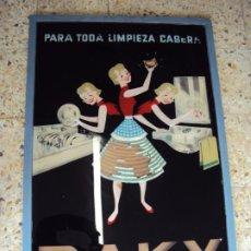 Carteles: (CART-210300)CARTEL PUBLICITARIO DE CRISTAL RAKY DETERGENTE CONCENTRADO EN BOLSAS. Lote 245379660