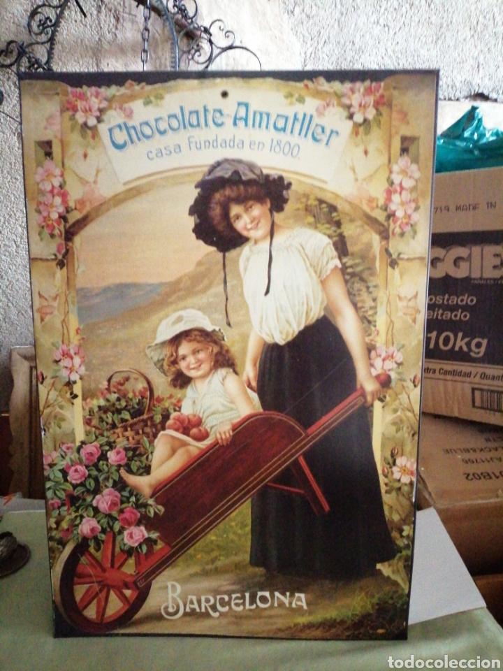CARTEL DE METAL CHOCOLATE AMATLLER (Coleccionismo - Carteles y Chapas Esmaltadas y Litografiadas)