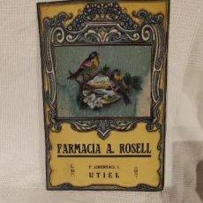Carteles: CARTEL MODERNISTA FARMACIA J.ROSELL. UTIEL. VALENCIA, PUBLICIDAD, PUBLICITARIO. Lote 246677500
