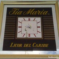 Carteles: CUADRO ESPEJO LICOR TIA MARIA CON RELOJ FUNCIONANDO 44 X 44 CM.. Lote 156699142