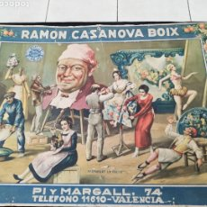 Carteles: CARTEL CARTÓN PIEDRA AÑOS 30 ORIGINAL RECONOCIDO J. BARREIRA,....PUBLICIDAD CASA RAMÓN CASANOVA. Lote 248565855