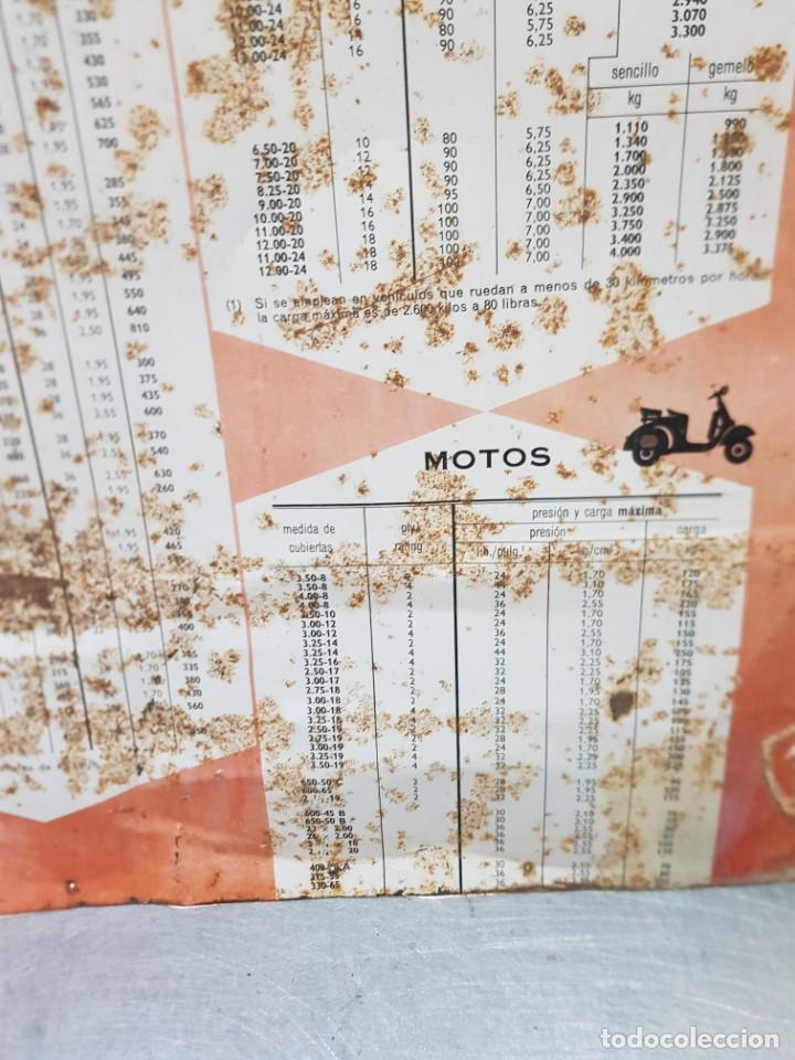 Carteles: Cartel Chapa Firestone -Presiones y Cargas Turismos, Camiones y Motos totalmente original de época - Foto 7 - 249199915
