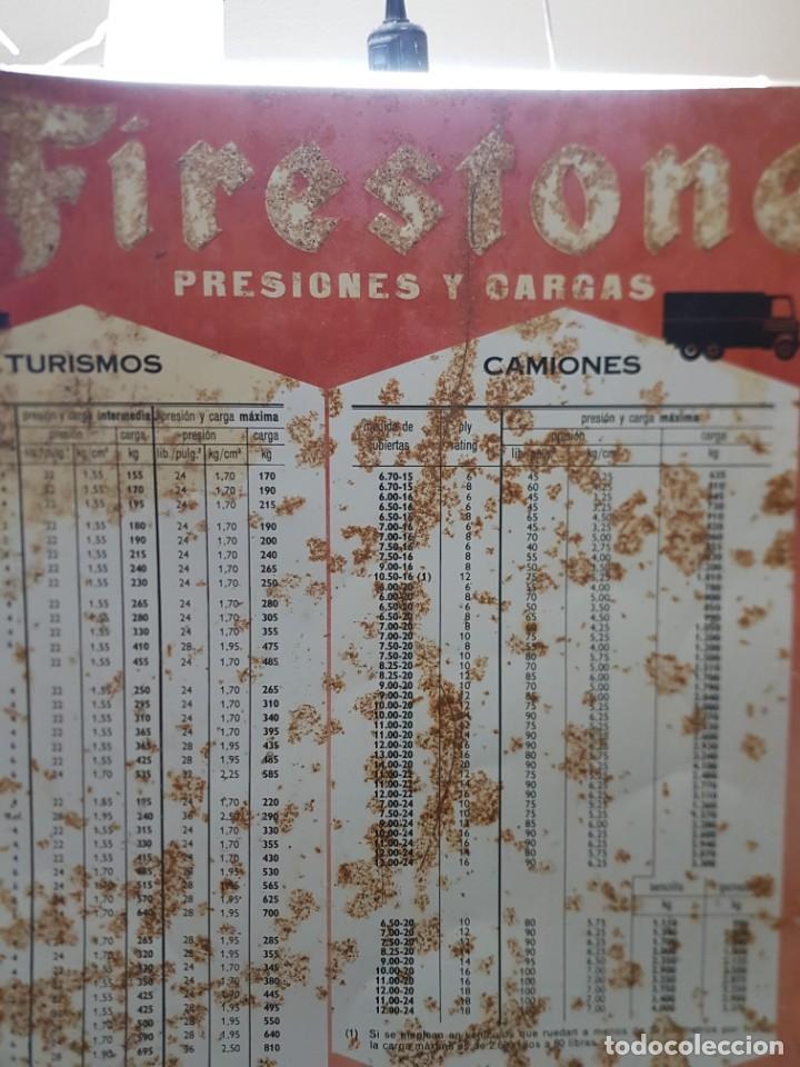 Carteles: Cartel Chapa Firestone -Presiones y Cargas Turismos, Camiones y Motos totalmente original de época - Foto 11 - 249199915