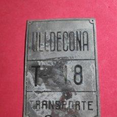 Carteles: ANTIGUA PLACA CHAPA MATRICULA AGRICOLA, DE CARRO ULLDECONA TARRAGONA. Lote 249607675