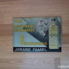 Carteles: CHAPA JARABE FAMEL FARMACIA DR. E. J. CURIEL BARCELONA. Lote 251517345