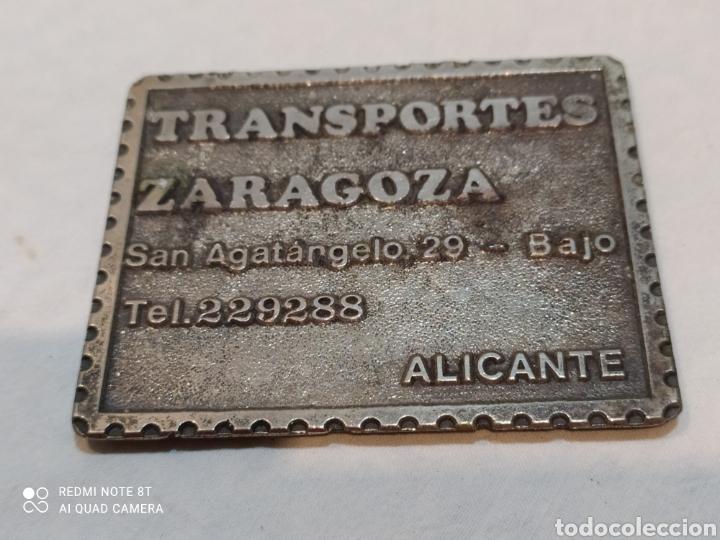 Carteles: Antigua chapa de hierro Transportes Zaragoza - Foto 2 - 254148145