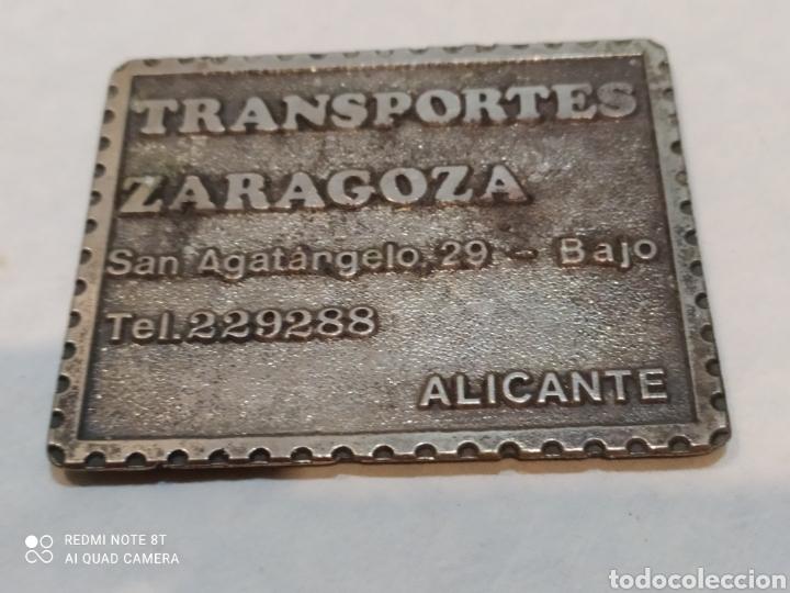 ANTIGUA CHAPA DE HIERRO TRANSPORTES ZARAGOZA (Coleccionismo - Carteles y Chapas Esmaltadas y Litografiadas)