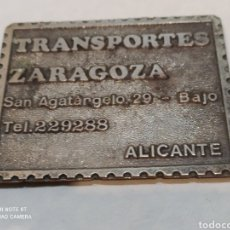 Carteles: ANTIGUA CHAPA DE HIERRO TRANSPORTES ZARAGOZA. Lote 254148145