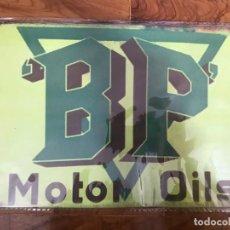 Carteles: PUBLICIDAD - BP MOTOR OILS- PLACA CHAPA METALICA 30 X 20 CMTS. - REPRODUCCION METAL -. Lote 254926780