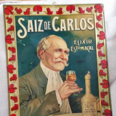 Carteles: CHAPA PUBLICIDAD SAIZ DE CARLOS ( 1900 ). Lote 255460330