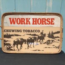 Carteles: ESPEJO PUBLICITARIO WORK HORSE CHEWING TOBACO. Lote 255949980