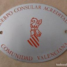Carteles: ÚNICA TC PLACA METAL AUTOMÓVIL COCHE. CUERPO CONSULAR ACREDITADO, COMUNIDAD VALENCIANA. Lote 256029025