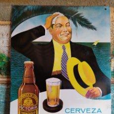 Affissi: CARTEL CHAPA PLACA ESMALTADA CERVEZA VICTORIA FRANQUELO S.A PUBLICIDAD RELIEVE ORIGINAL AÑOS 60. Lote 259313400