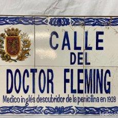 Carteles: PLACA DE CALLE DE ZARAGOZA. DOCTOR FLEMING. 60X40. Lote 260537700
