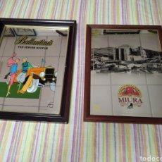 Carteles: CUADROS ESPEJO PUBLICIDAD BALLENTINES Y MIURA. Lote 260785540
