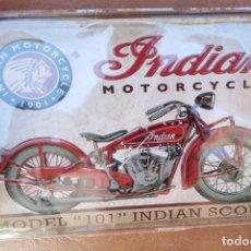 Carteles: CHAPA PLACA METAL MOTO INDIAN 20 X 30 DECORATIVA REPRO. Lote 275245583