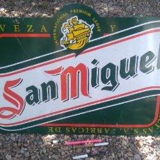 Carteles: CARTEL CHAPA CERVEZA SAN MIGUEL A DOS CARAS DECORACIÓN INDUSTRIAL BAR. Lote 264505644