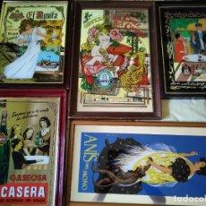 Carteles: ESPEJO CARTEL BEBIDAS ESPAÑOLAS CERVEZA ANÍS LA CASERA 5 ESPEJOS PUBLICIDAD. Lote 266389343