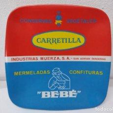 Carteles: PLATO DE PUBLICIADAD.CONSERVAS VEGETALES LA CARRETILLA.MERMELADAS BEBE.SAN ADRIAN NAVARRA.. Lote 266481518
