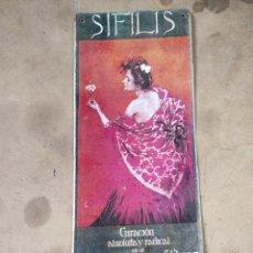 Carteles: SIFILIS. SANATORIO PARA SIFILITICOS. CALLE MAYOR DE LA BONANOVA. BARCELONA 40X17. Lote 266766908