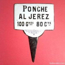 Carteles: ANTIGUO CARTEL HIERRO ESMALTADO - PONCHE AL JEREZ. Lote 270537918