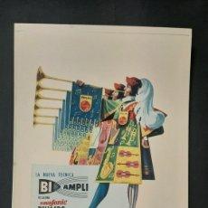 Carteles: REPRODUCCIÓN CARTEL PUBLICITARIO BI - AMPLI PHILIPS RADIO 1957. Lote 270562783