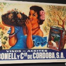 Carteles: REPRODUCCIÓN CARTEL PUBLICITARIO VINOS Y ACEITES CARBONELL. Lote 270563098