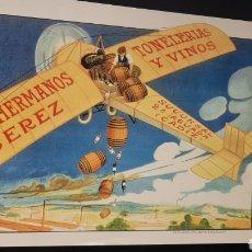 Carteles: REPRODUCCIÓN CARTEL PUBLICITARIO PAZ HERMANOS JEREZ TONOLERIAS Y VINOS. Lote 270563328