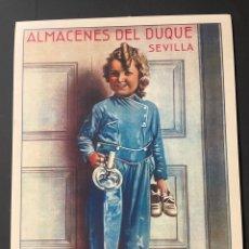 Carteles: REPRODUCCIÓN CARTEL PUBLICITARIO ALMACENES DEL DUQUE SEVILLA. Lote 270563728