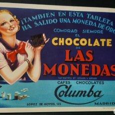 Carteles: REPRODUCCIÓN CARTEL PUBLICITARIO CHOCOLATE DE LAS MONEDAS COLUMBA. Lote 270564633